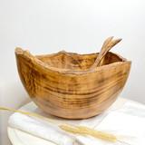 Burned Wood Salad Bowl Set   Round Rustic Large   Jacaranda Wood   Handmade In Kenya