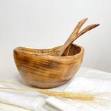 Burned Wood Salad Bowl Set   Round Rustic Small   Jacaranda Wood   Handmade In Kenya