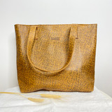 Genuine Leather Tote Bag | Tan Brown Textured | Handmade in Kenya