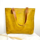 Genuine Leather Tote Bag | Mustard Textured Strap Brown | Handmade in Kenya