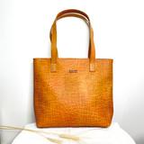 Genuine Leather Tote Bag | Orange Textured | Handmade in Kenya