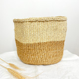 Kiondo Basket - Two Tone Natural Brown & White  | 7.5"
