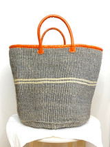 Kiondo Basket - Grey with 2 Thin White Stripes | Leather Trim & Handles | 15"