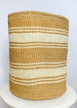 Kiondo Basket - Natural and White Stripes | 17'' | Storage, Decor