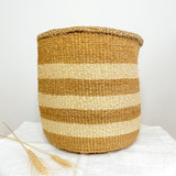 Kiondo Basket - Natural with 3 White Stripes | 10"