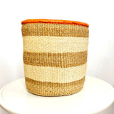 Kiondo Basket - Natural with 2 White Stripes | Leather Trim | 10"
