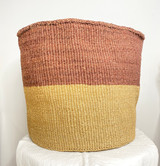 Kiondo Basket - Two Tone Merlot Brown & Natural Brown | 16'' | Storage, Decor