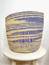 Kiondo Basket - Blue & White Zebra Pattern | 15'' | Storage, Decor
