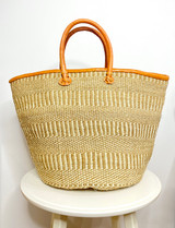 Kiondo Basket - Natural Brown & White Patterned Stripes | Leather Trim & Handles | 14"