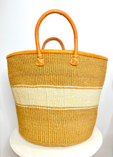 Kiondo Basket - Natural with White Stripe | Leather Trim & Handles | 16"