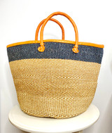 Kiondo Basket - Natural Brown & White Pattern with Black Stripe | Leather Trim & Handles | 14'' | Shopper, Storage, Decor