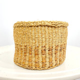 "Kiondo Basket - Natural Brown with Banana Stem Design | 8"" - Wide 