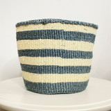 Kiondo Basket - White With Dark Blue Stripes | 8"