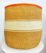 Kiondo Basket - Natural with White Stripes | Leather Trim | 16"