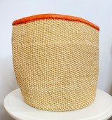 Kiondo Basket - Natural & White Pattern | Leather Trim  | 12'' | Shopper, Storage, Decor