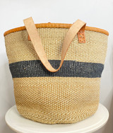 Kiondo Basket - Natural & White Pattern with Black Stripe | Leather Trim & Handles | 14'' | Shopper, Storage, Decor