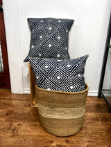 Throw/Sofa Pillows | 18 x18 | Navy Blue Geometric Design | Handmade in Zimbabwe
