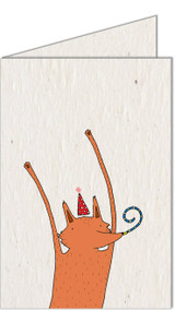 Celebrating Fox | Recycled Paper Plantable Greeting Card | Handmade in South Africa
