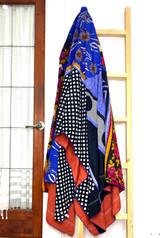 Kantha Quilt | King | Flowers/Black & Blue Boho | Recycled Saris | Handmade in Bangladesh