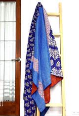 Kantha Quilt | King | Leaf & Stripes | Blue Boho | Recycled Saris | Handmade in Bangladesh