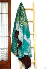 Kantha Quilt | King | Spirals | Turquoise Boho | Recycled Saris | Handmade in Bangladesh