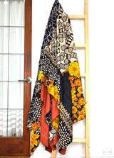 Kantha Quilt | King | Flowers & Circles | Yellow & Black Boho | Recycled Saris | Handmade in Bangladesh