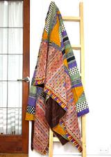Kantha Quilt | King | Stripes | Multicolor Boho | Recycled Saris | Handmade in Bangladesh
