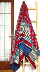 Kantha Quilt | King | Flowera & Leaf | Red & Turquoise Boho | Recycled Saris | Handmade in Bangladesh