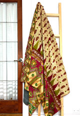 Kantha Quilt | King | Floral | Beige & Green Boho | Recycled Saris | Handmade in Bangladesh