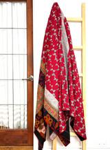 Kantha Quilt | King | Leaf & Flowers | Red & Black Boho | Recycled Saris | Handmade in Bangladesh