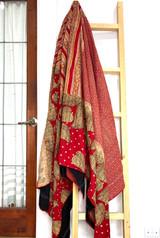 Kantha Quilt | King | Leaf | Red & Brown Boho | Recycled Saris | Handmade in Bangladesh