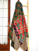 Kantha Quilt | King | Square & Flowers | Green & Red Boho | Recycled Saris | Handmade in Bangladesh