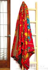 Kantha Quilt | King | Blue Tulip | Red & Yellow Boho | Recycled Saris | Handmade in Bangladesh