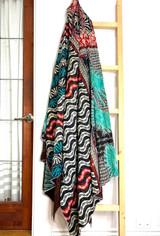 Kantha Quilt | King | Mandala | Turquoise & White Boho | Recycled Saris | Handmade in Bangladesh
