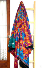 Kantha Quilt | Queen | Red with Purple & Flowers | Recycled Saris | Handmade in Bangladesh