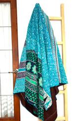 Kantha Quilt | Queen | Green & Light Blue & Filigree Pattern | Recycled Saris | Handmade in Bangladesh