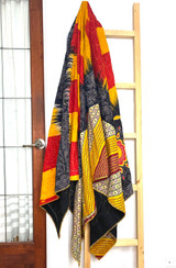 Kantha Quilt | Queen | Yellow & Red |  Curves and Points | Recycled Saris | Handmade in Bangladesh