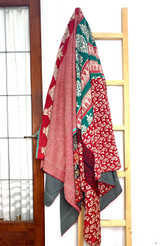 Kantha Quilt | Queen | White & Red | Square & Flowers| Recycled Saris | Handmade in Bangladesh