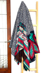 Kantha Quilt | Queen | Multicolor | Stripe & Flowers | Recycled Saris | Handmade in Bangladesh