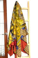 Kantha Quilt | Queen | Brown & Yellow | Flowers Pattern | Recycled Saris | Handmade in Bangladesh