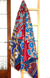 Kantha Quilt | Queen | Blue & Red | Flowers & Points Pattern | Recycled Saris | Handmade in Bangladesh