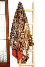 Kantha Quilt | Queen | Beige & Brown | Coral Pattern | Recycled Saris | Handmade in Bangladesh