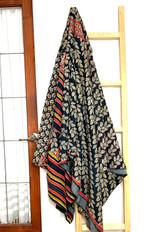 Kantha Quilt | Queen | Black & Beige | Leaf Pattern | Recycled Saris | Handmade in Bangladesh