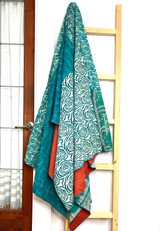 Kantha Quilt | Queen | Turquoise | Coral Pattern | Recycled Saris | Handmade in Bangladesh