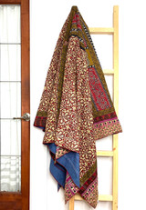 Kantha Quilt | Queen | Red & Brown | Floral Pattern | Recycled Saris | Handmade in Bangladesh