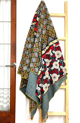 Kantha Quilt   Queen   Multicolor   Evil Eye Pattern   Recycled Saris   Handmade in Bangladesh