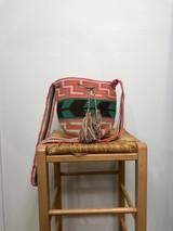 Mochila Wayuu Bag | Medium | Pink Green Arrow | Handmade in Columbia