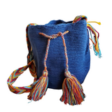 Mochila Wayuu Bag | Medium | Blue | Handmade in Columbia
