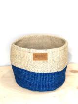 Kiondo Basket - Two Tone White & Blue | 8' Wide | Planter, Storage, Decor