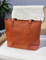 Genuine Leather Tote Bag with Pocket | Brown Red | Handmade in Kenya